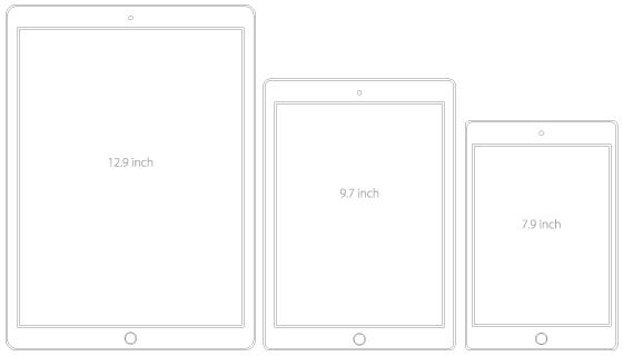 プリントアウトして比較するiPad Pro、iPad Air2、iPad mini4 の大きさの違い